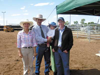 Completing a double in the Junior events Tara Dieckmann also took out the Junior Judging award. She is pictured with Judge Brett Coombe and his daughter Lara, Roxborough Stud, Moura and Bob Hardy, Rabobank, Cloncurry who sponsored the Junior competitions